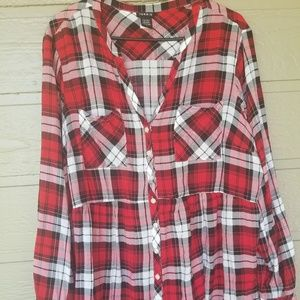Torrid Pedlum Red black Plaid blouse